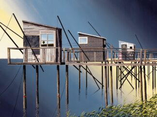 Three Fishing Shacks - Signed Limited Edition Print By Michael Kidd