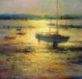 Low Light Beyond Moorings - Signed Limited Edition Print by Norman Smith
