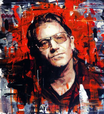 Rock Star Bono - Signed Limited Edition Print By Zinsky - Hand Embellished Box Canvas - Unframed