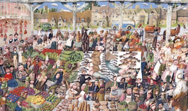Country Market - Signed Limited Edition Print By Richard Adams