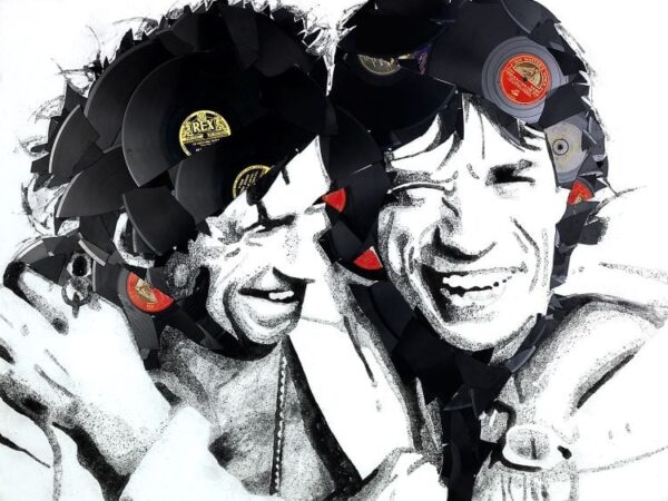 Mick And Ketih By Ben Riley Signed Limited Edition Vinyl on Canvas Print Boxed