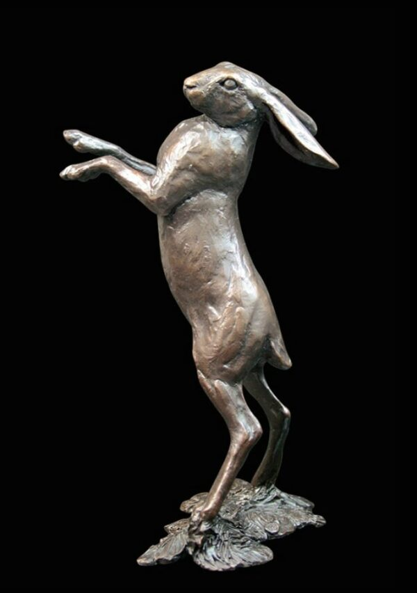 Medium Hare Standing - Signed Limited Edition Sculpture By Michael Simpson