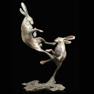 Medium Hares Boxing - Signed Limited Edition Bronze Sculpture From Michael Simpson