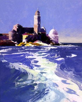 Launch Wash, San Michele Venice Unmounted Silkscreen Print by Donald Hamilton Fraser