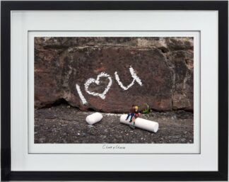 Chalk And Cheese - Signed Limited Edition Paper Print by Mr Kuu - Mounted and Framed