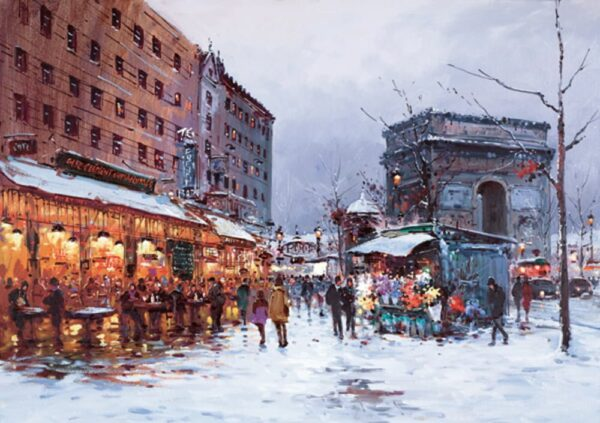 Paris in the Snow By Henderson Cisz Signed Limited Edition Hand Embellished Canvas Print On Board