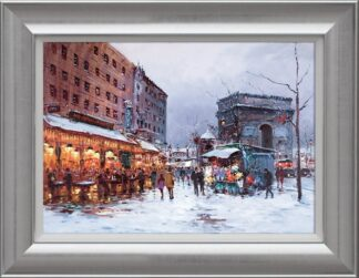 Paris in the Snow By Henderson Cisz Signed Limited Edition Hand Embellished Canvas Print On Board Framed