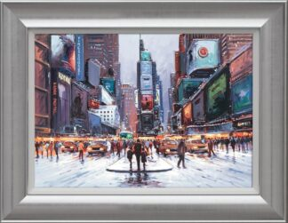 Times Square at Twilight By Henderson Cisz Signed Limited Edition Hand Embellished Canvas Print On Board Framed