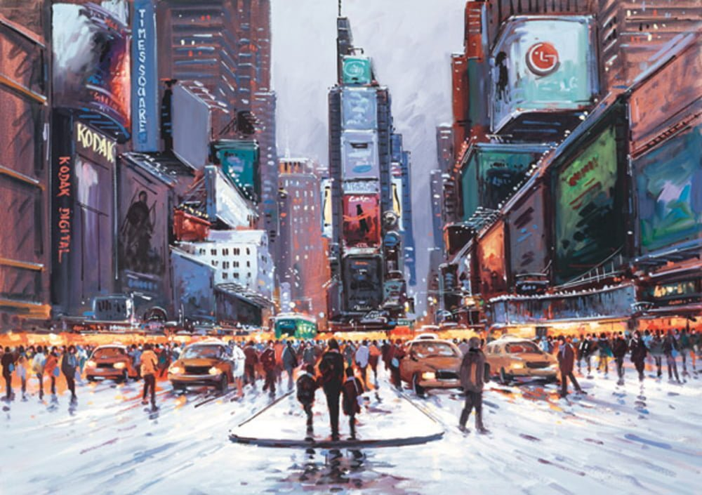 Times Square at Twilight By Henderson Cisz Signed Limited Edition Hand Embellished Canvas Print On Board