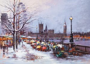 Winter In Westminster By Henderson Cisz Signed Limited Edition Hand Embellished Canvas Print On Board