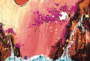 Heavens Kiss III By Danielle O'Connor Akiyama Signed Limited Edition Hand Embellished Canvas Print
