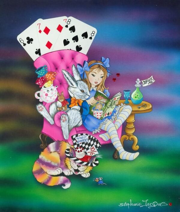 Alice Reading To The White Rabbit By Stephanie Jaques Signed Limited Edition Framed High Gloss Resin with 3D Elements Print