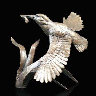 Kingfisher In Flight By Michael Simpson Bronze Sculpture