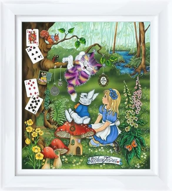 Alice meets the Cheshire Cat by Stephanie Jacques Framed