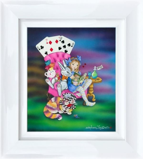 Alice reading to the White Rabbit by Stephanie Jacques Framed