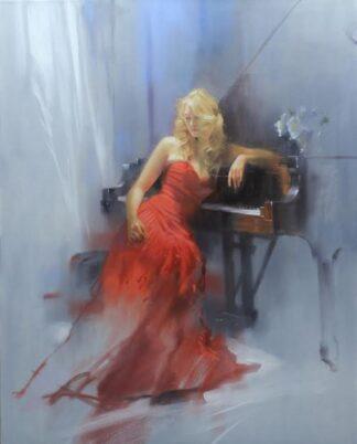 Crimson Sonata By Richard Johnson Giclee On Canvas Hand Embellished Framed