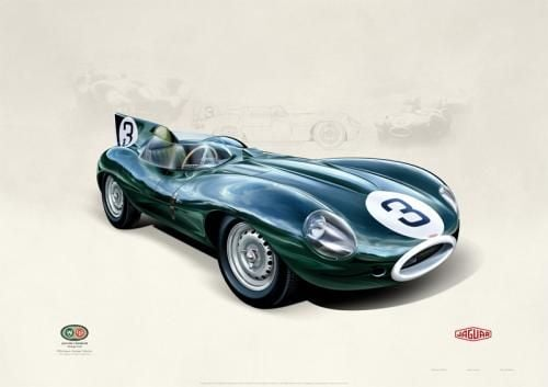 D-Type Jaguar By John Francis Limited Edition Lithographic Print Mounted