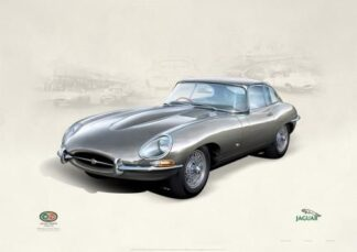 Jaguar E-Type Series 1 1961 Fixed Head Coupe By John Francis Signed Limited Edition Lithographic Print Mounted