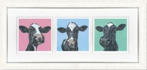 Three's Company Paper Triptych By Gina Hawkshaw Signed Limited Edition Paper Print Framed
