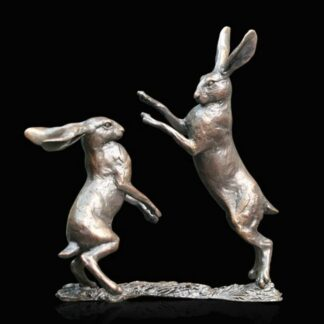 Hares Boxing Small By Michael Simpson Signed Limited Edition Sculpture