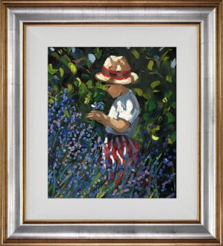 Picking Bluebells Signed Limited Canvas print by Sherree Valentine Daines framed in the artists recommended frame