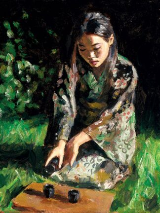 Geisha Pouring Sake by Fabian Perez Signed Limited Edition - Canvas on board