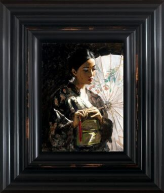Michiko with White Umbrella Hair Up by Fabian Perez Signed Limited Edition - Canvas on board Framed