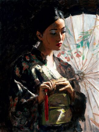 Michiko with White Umbrella Hair Up by Fabian Perez Signed Limited Edition - Canvas on board