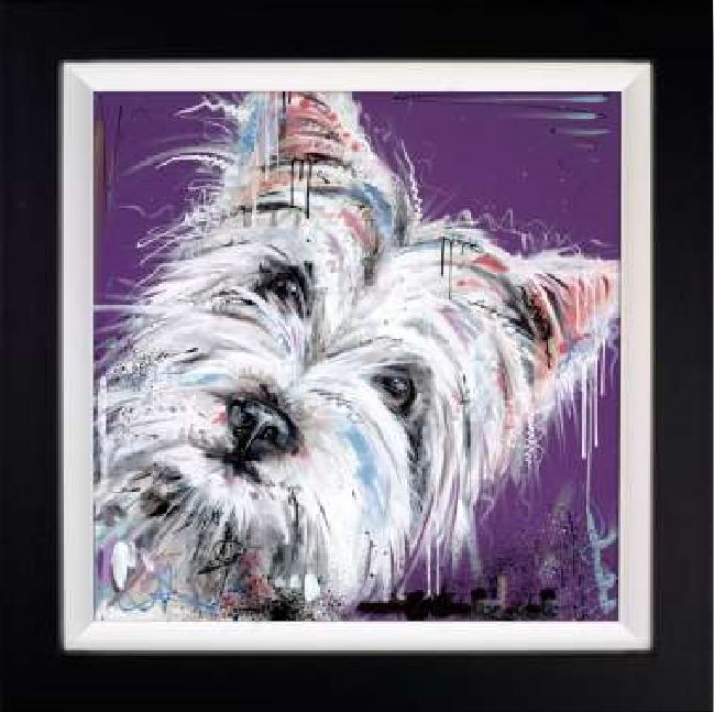Fur With Flair - Signed Limited Edition Hand Embellished Canvas Print on Board By Samantha ellis Framed