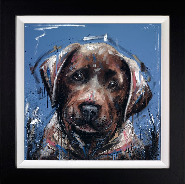 Dirty Dog - Signed Limited Edition Hand Embellished Canvas Print on Board By Samantha Ellis Framed