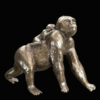 Gorilla With Baby - Signed Limited Edition Bronze Sculpture From Michael Simpson