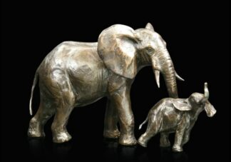 Medium Elephant Cow And Calf - Signed Limited Edition Bronze Sculpture From Michael Simpson
