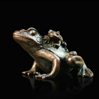 Small Frog With Baby - Signed Limited Edition Bronze Sculpture From Michael Simpson
