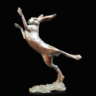 Small Hare Boxing- Signed Limited Edition Bronze Sculpture From Michael Simpson