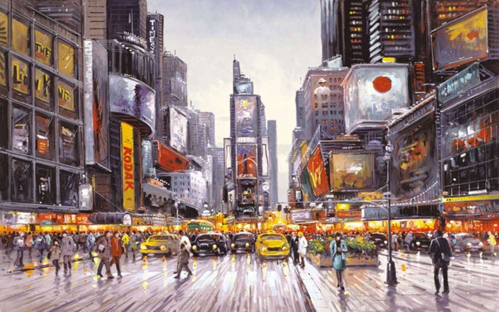 Times Square Morning - Signed Limited Canvas Edition By Henderson Cisz