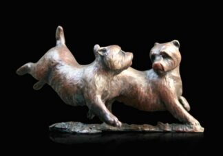 Westie Pair Playing - Signed Limited Edition Bronze Sculpture From Michael Simpson