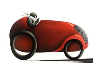 Fastest Car In The World - signed limited Edition Print By Mackenzie Thorpe - Paper And Mounted - Unframed