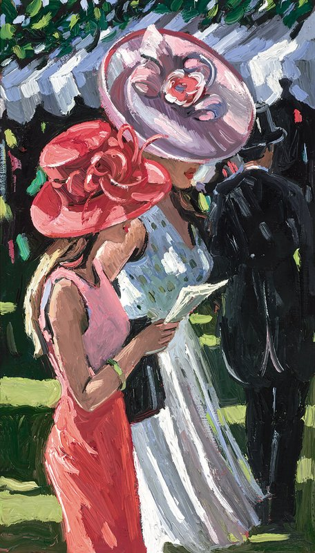 Ascot Ladies - Signed Limited Edition Canvas Print By Sherree Valentine Daines - unframed