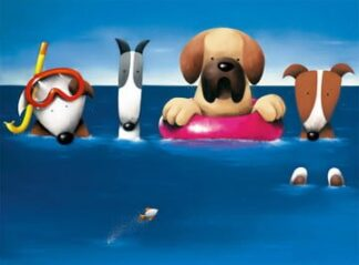 Doggie Paddle - Signed Limited Edition Paper Print By Doug Hyde - Mounted