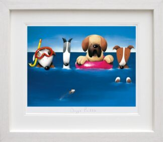 Doggie Paddle - Signed limited edition Paper Print By doug Hyde - Framed