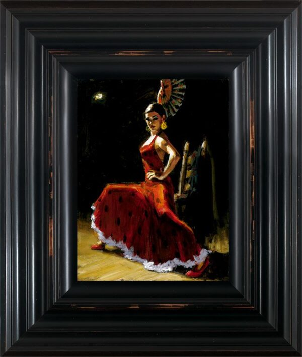 Study for Celina with Abanico III - Signed Limited Edition Print by Fabian Perez - Canvas on board framed