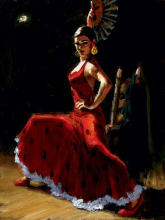 Study for Celina with Abanico III - Signed Limited Edition Print by Fabian Perez - Canvas on board unframed