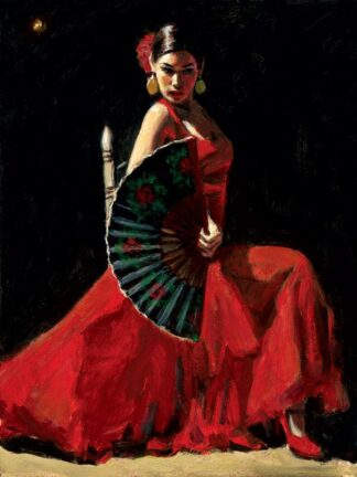 Study For Celine with Abanico - Signed Limited Edition Print by Fabian Perez - Canvas on board unframed