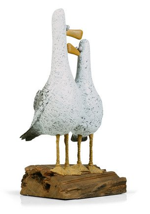 Lovebirds - Signed Limited Edition Cold Cast Porcelain Sculpture By Rebecca Lardner