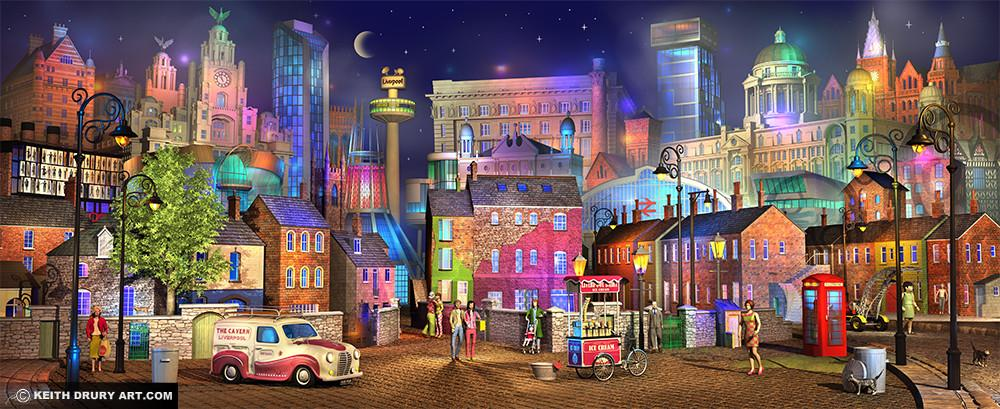 Liverpool Twilight - Signed limited Edition Paper Print by Keith Drury - Unmounted