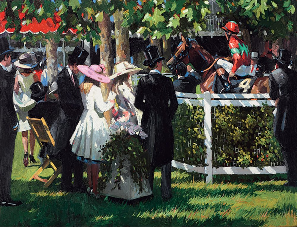 Ascot Race Day I - Signed Limited Edition Hand Embellished Canvas Print on Board By Sherree Valentine Daines - Unframed