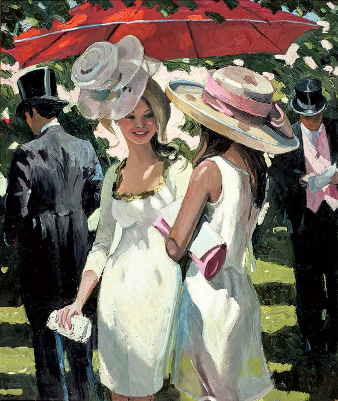 Glamorous Ladies - Signed Limited Edition Hand Embellished Canvas Print On Board By Sherree Valentine Daines Unframjed