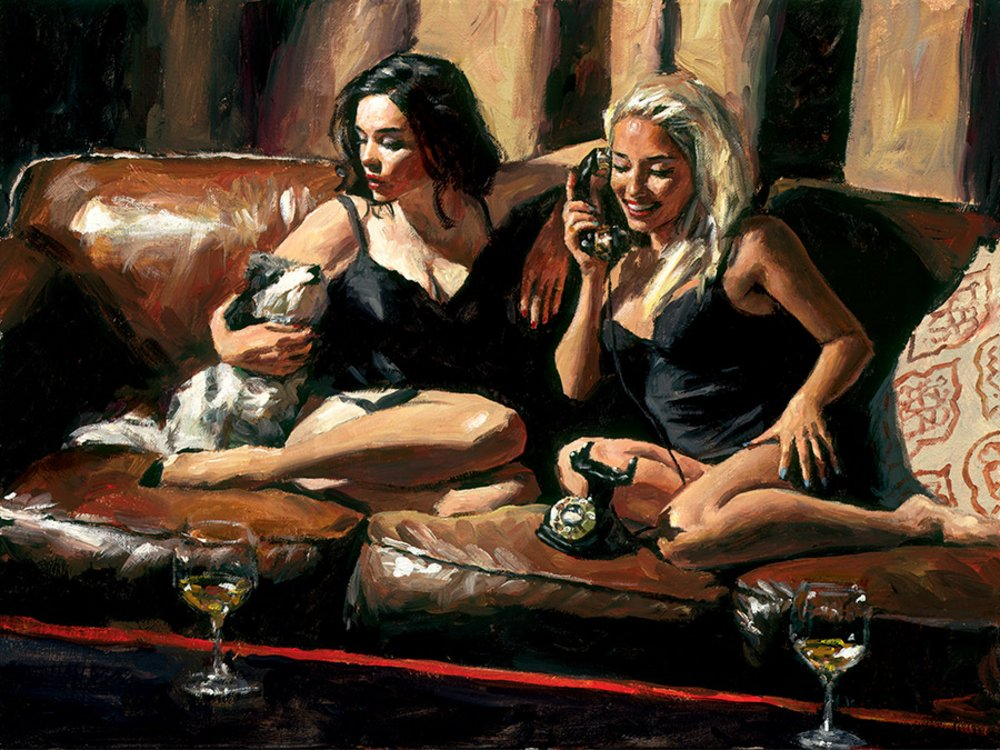 Eugie And Geo II - Hand Embellished Signed Limited Edition Canvas Print by Fabian Perez - Mounted Unframed