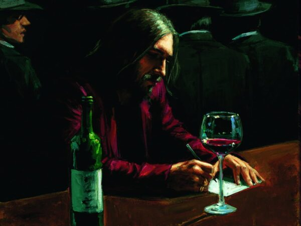 Man At Bar VII - Hand Embellished Signed Limited Edition Canvas Print by Fabian Perez - On Board