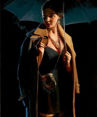 November Rain - Hand Embellished Signed Limited Edition Canvas Print on board by Fabian Perez - Mounted